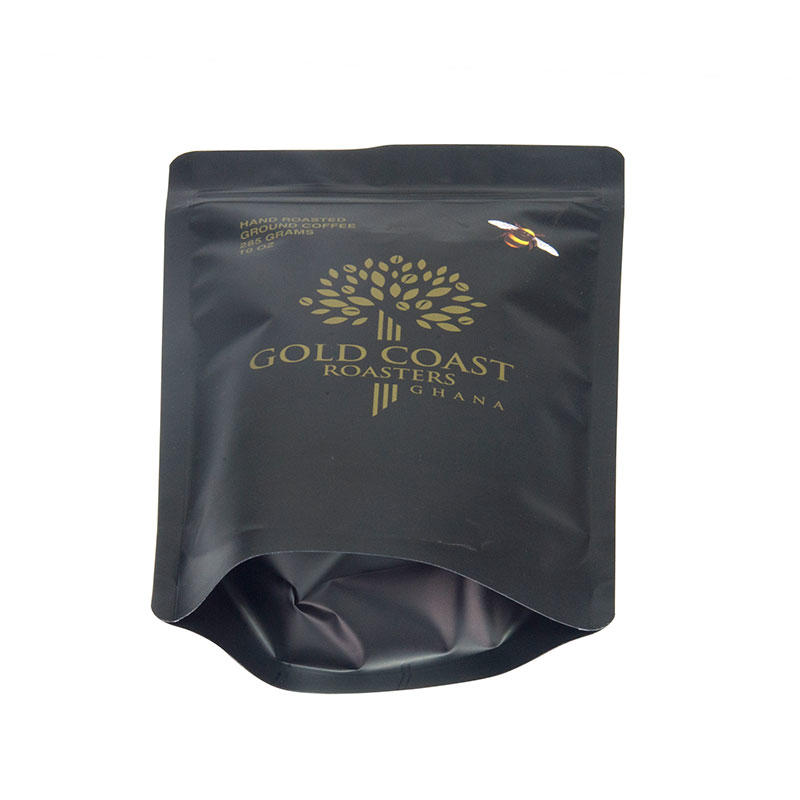 Custom Printed Black Matte Ziplock One Way Valve Coffee Packing Bag