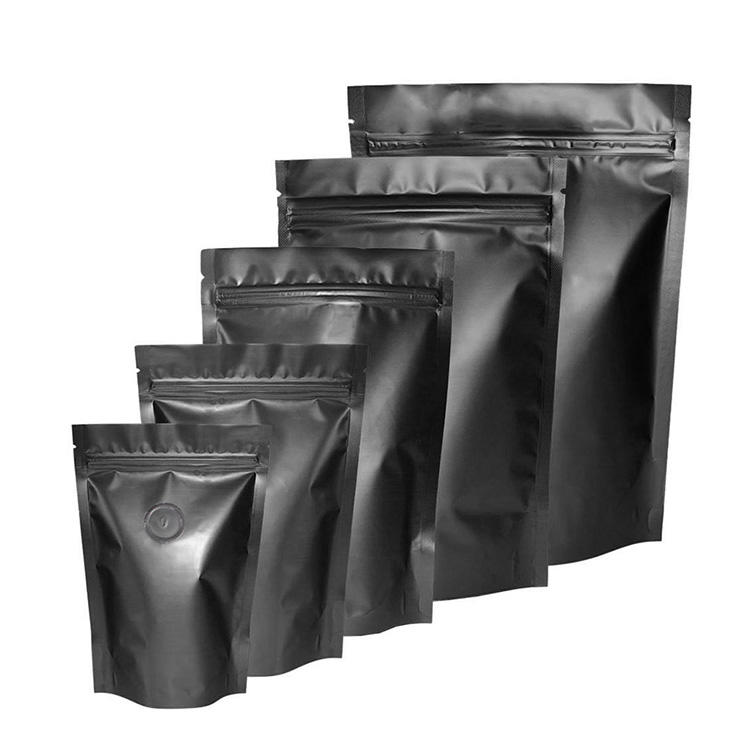 Black Matte Ziplock One Way Valve Coffee Packing Bag