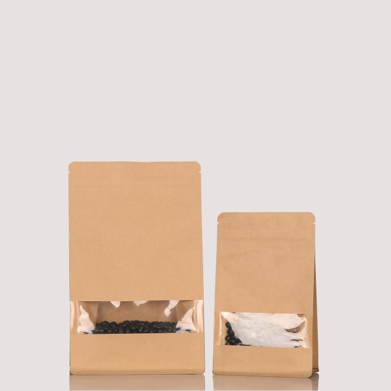 Kraft Paper Flat Bottom Bag Packaging with Sight Window
