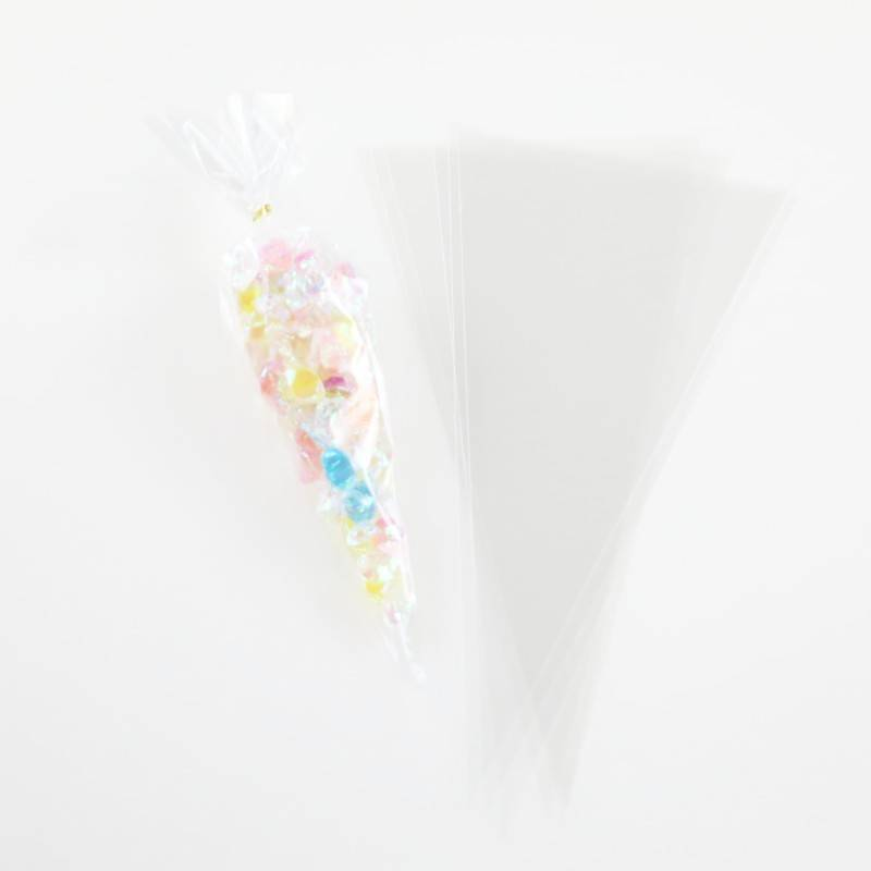 Cello Cellophane Triangle Plastic OPP Cone Treat Bag